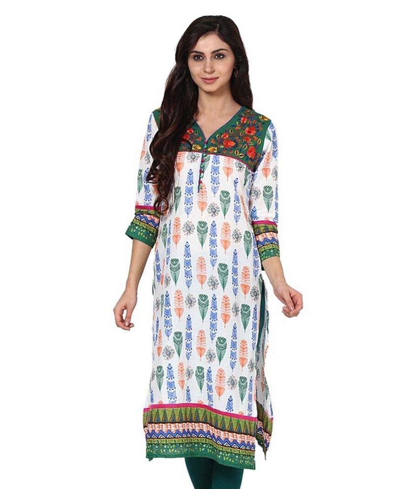 Prakhya Green Straight Cotton Kurti