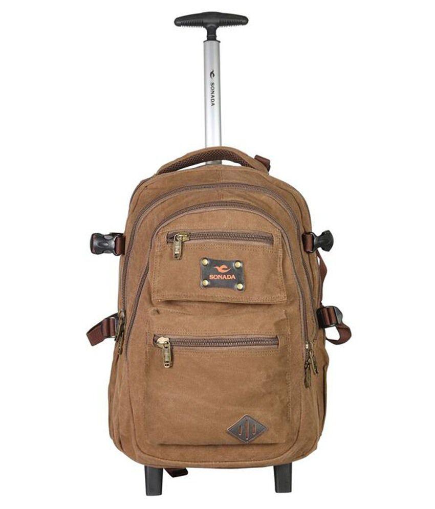 Sonada Brown 2 Wheel Trolley Backpack