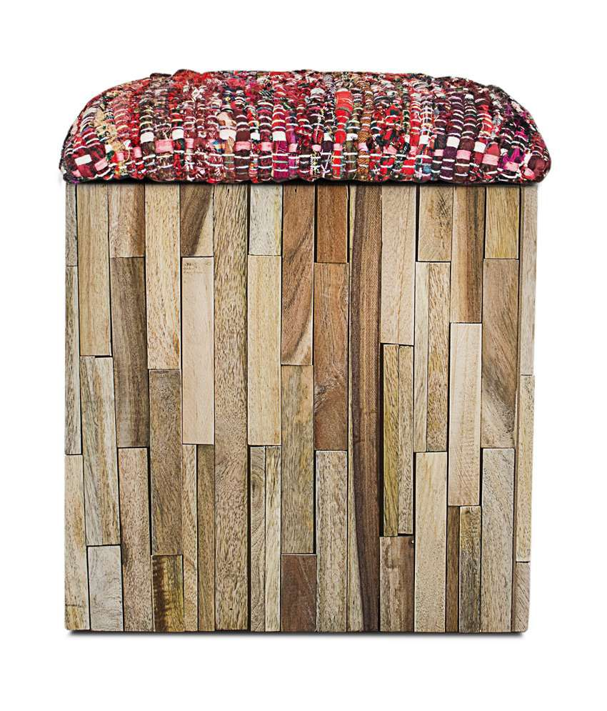 Inliving Solid Wood Brown Vante Box Pouffe