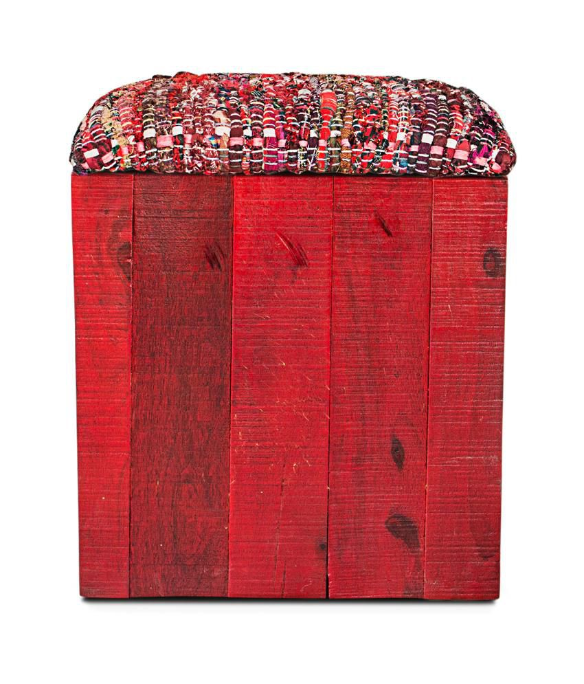 Inliving Solid Wood Red Max Saw Mark Pouffe