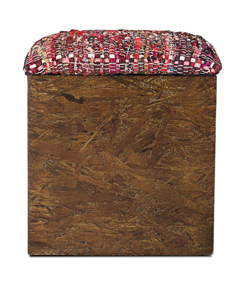 Inliving Solid Wood Walnut Sarah Box Pouffe