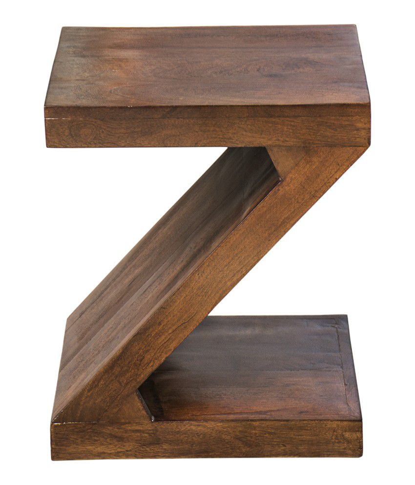 Inliving Solid Wood Walnut Zee End Table