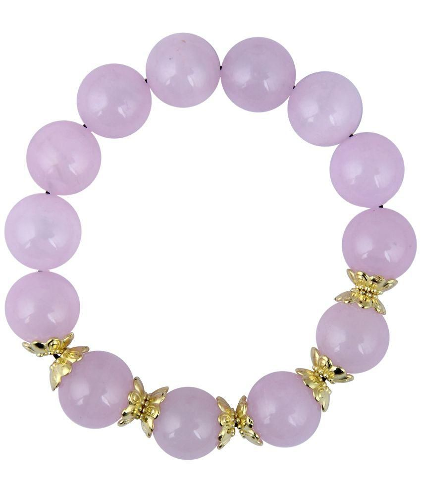 Pearlz Ocean Pink Quartz Stretchable Beads Bracelet