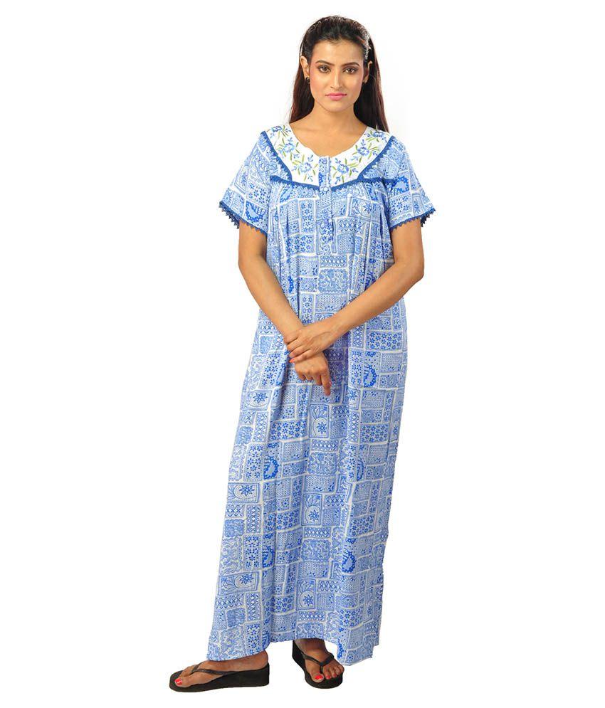 Shankar Enterprise Blue Cotton Nighty