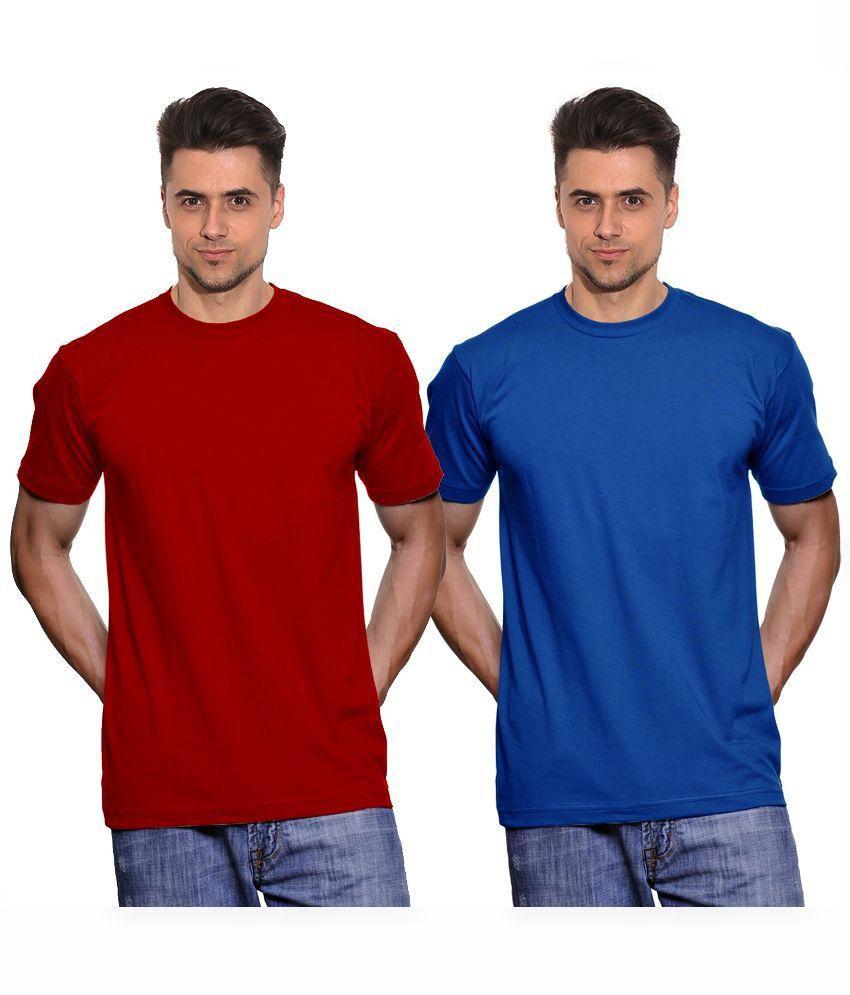 Fanideaz Red & Blue Cotton T-Shirt