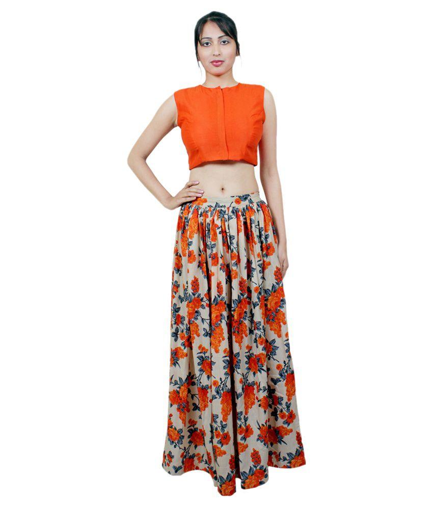 Aarohi Garment Orange Silk Crop Top With Skirt - Buy Aarohi ...