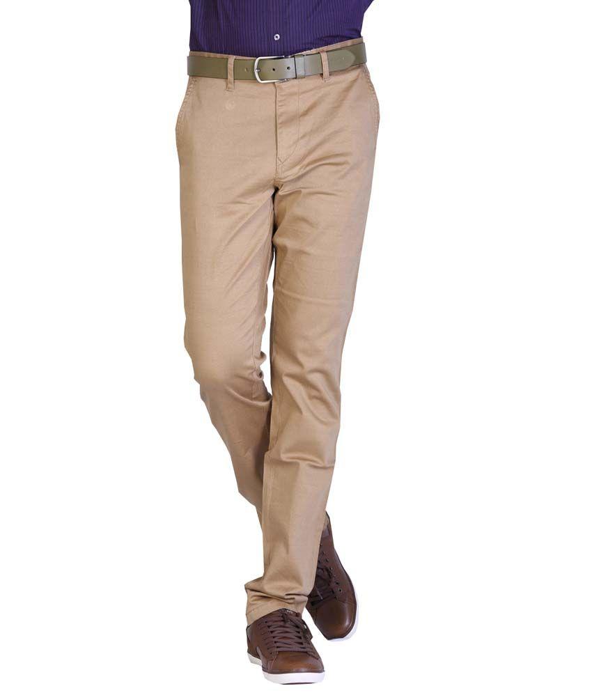 Aikon Beige Slim Fit Formal Flat Trouser