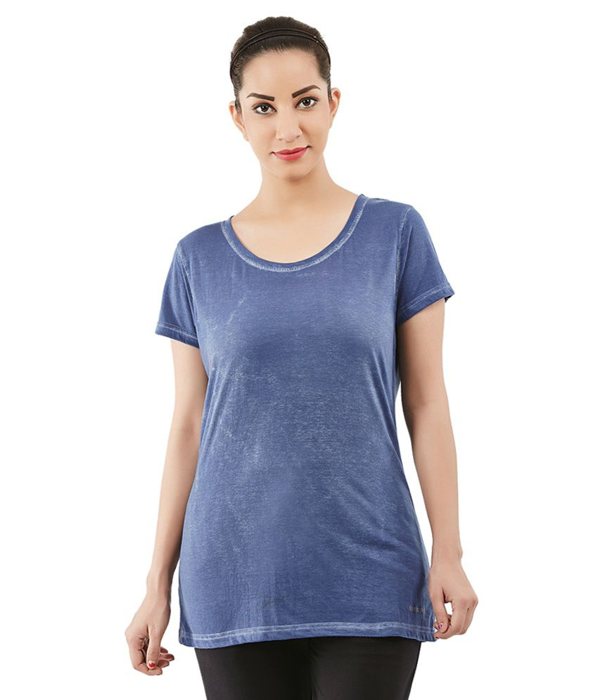 Foreveryoga Blue Strechable Round Neck Tee