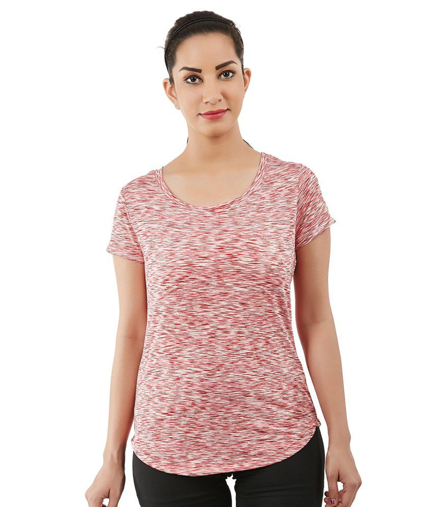 Foreveryoga Red Basic Scoop Neck Tee