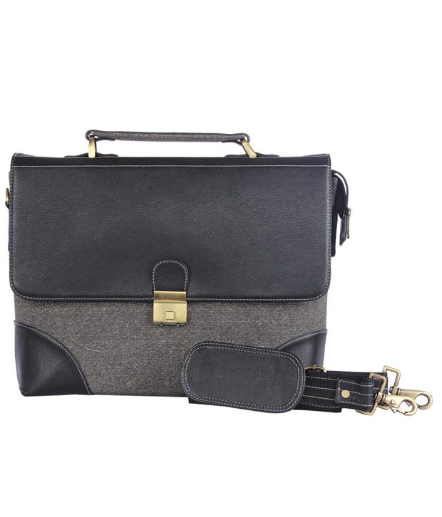 WalletsnBags Black Contrast Stitched Messenger Bag