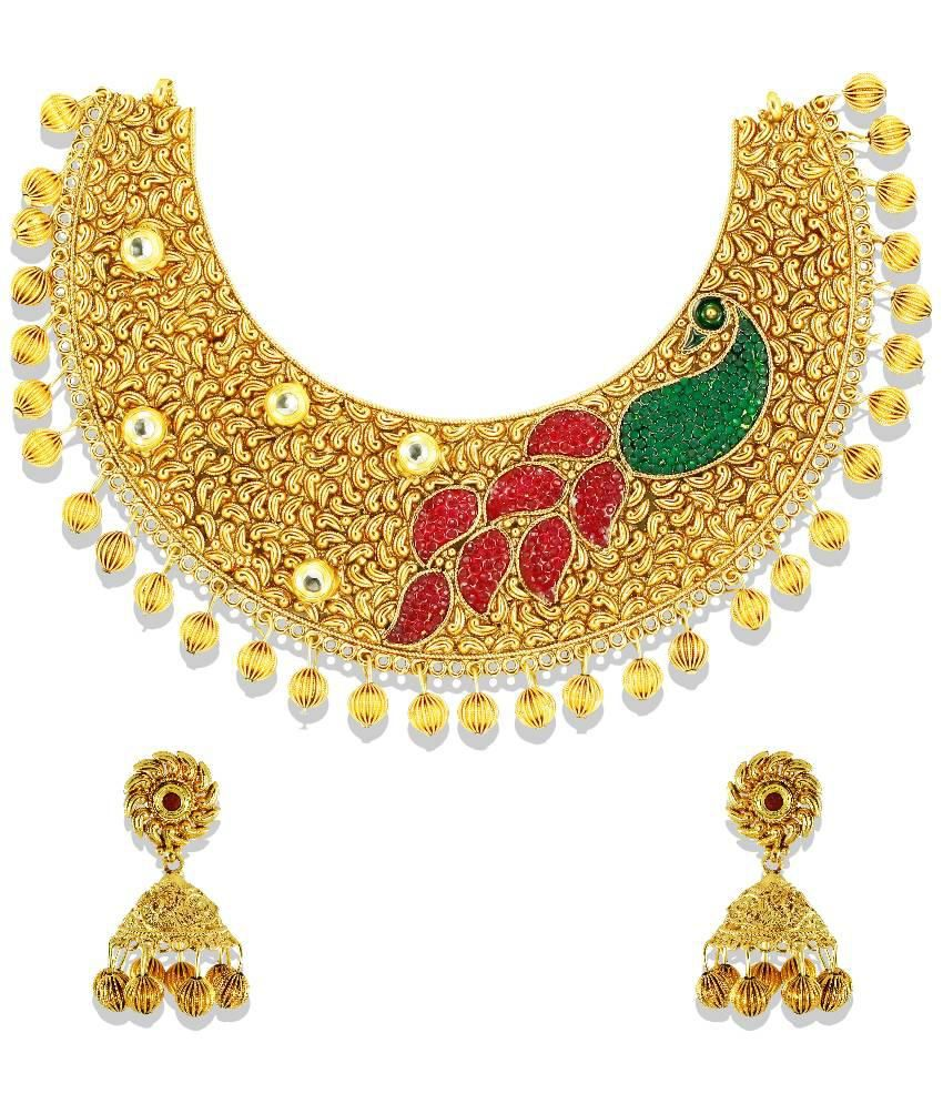 Zaveri Pearls Golden Alloy Necklace Set