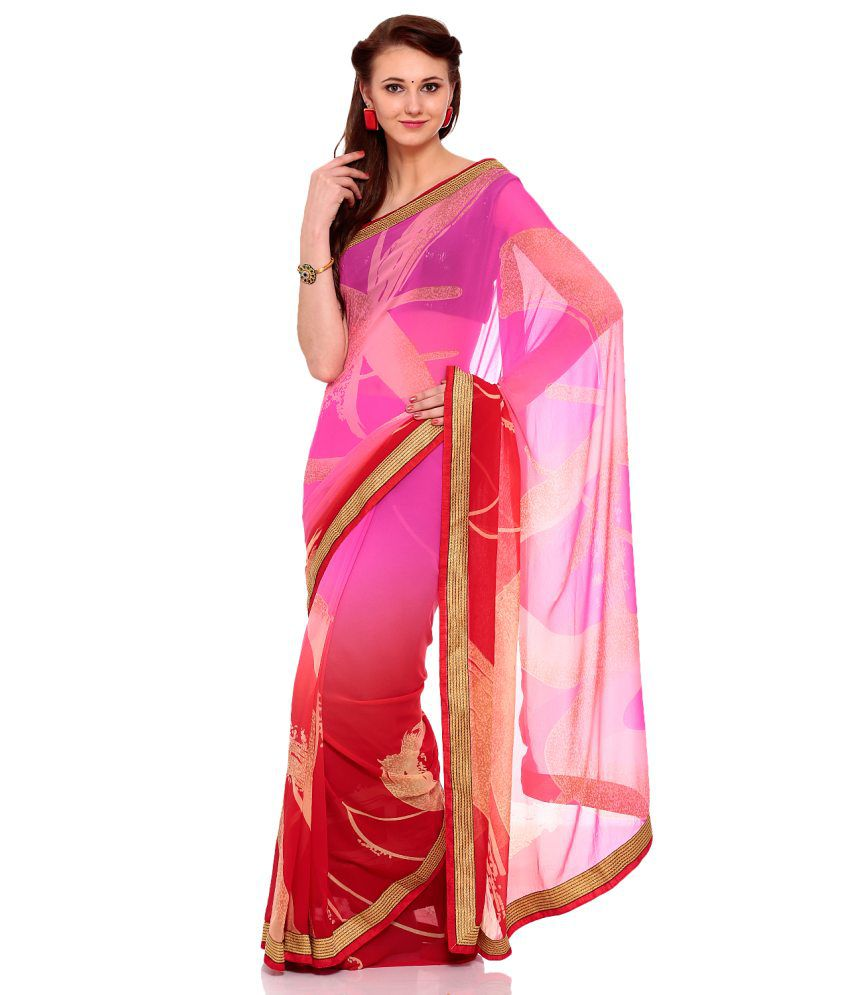 EK Pink Georgette Saree