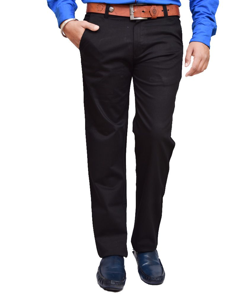 British Terminal Black Slim Fit Casual Chinos