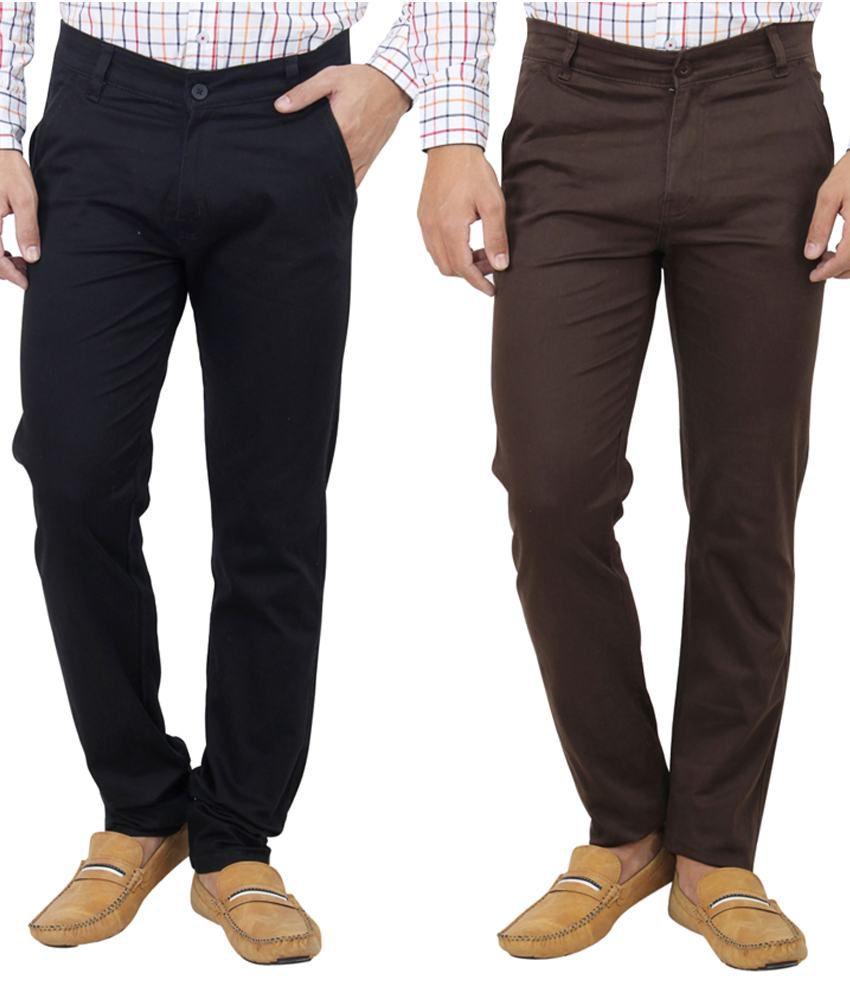 Haltung Brown & Black  Cotton Blend Trousers