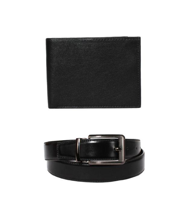 Klaska Combo Of Black Leather Wallet and Reversible Belt