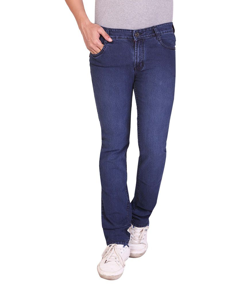 Redox Blue Cotton Blend Slim Fit Jeans