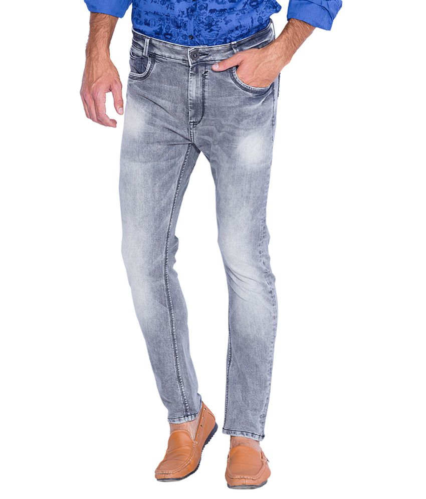Mufti Grey Carrot Fit Jeans