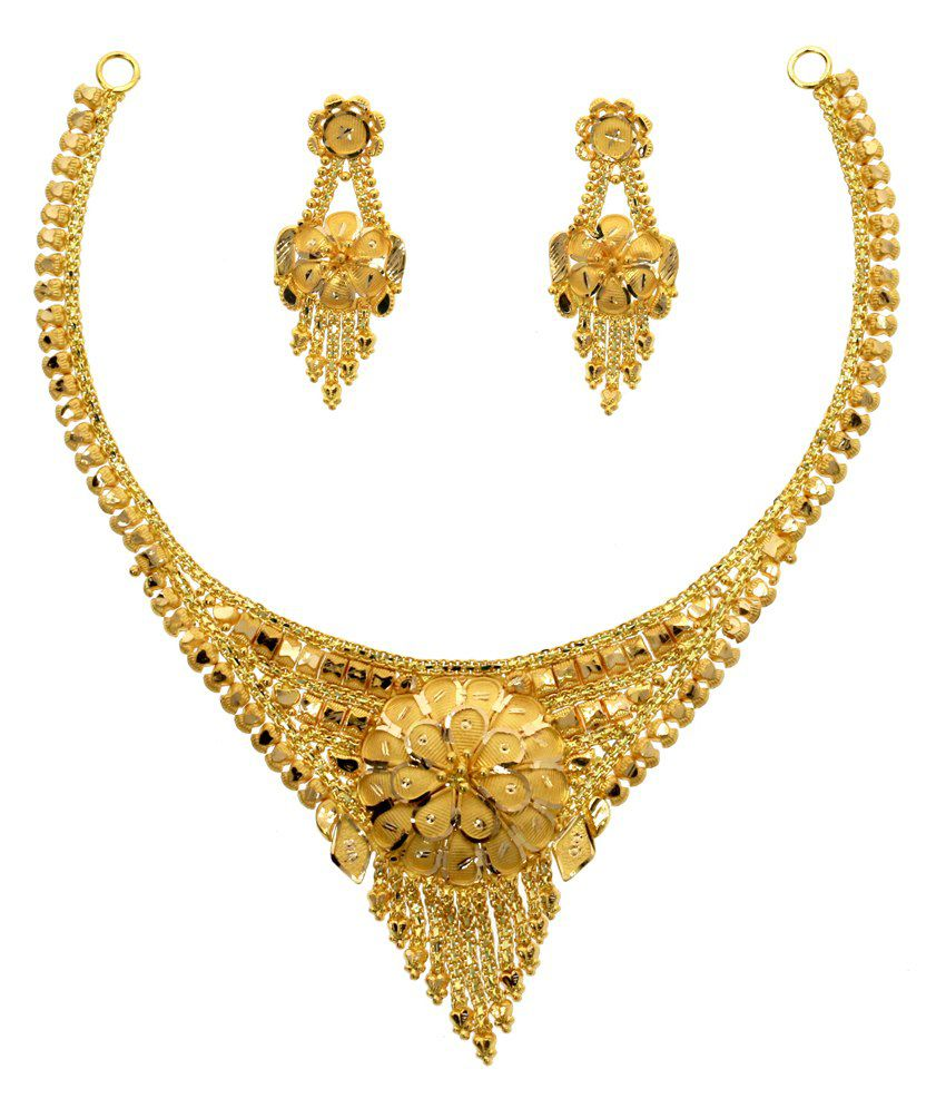Abhijewels Hallmarked 22kt Gold Necklace Set