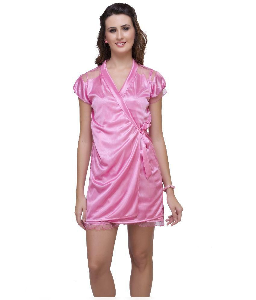 Buy Hot N Sweet Pink Satin Nighty   Night Gowns Pack of 2 Online at Best  Prices in India - Snapdeal 5c6680050