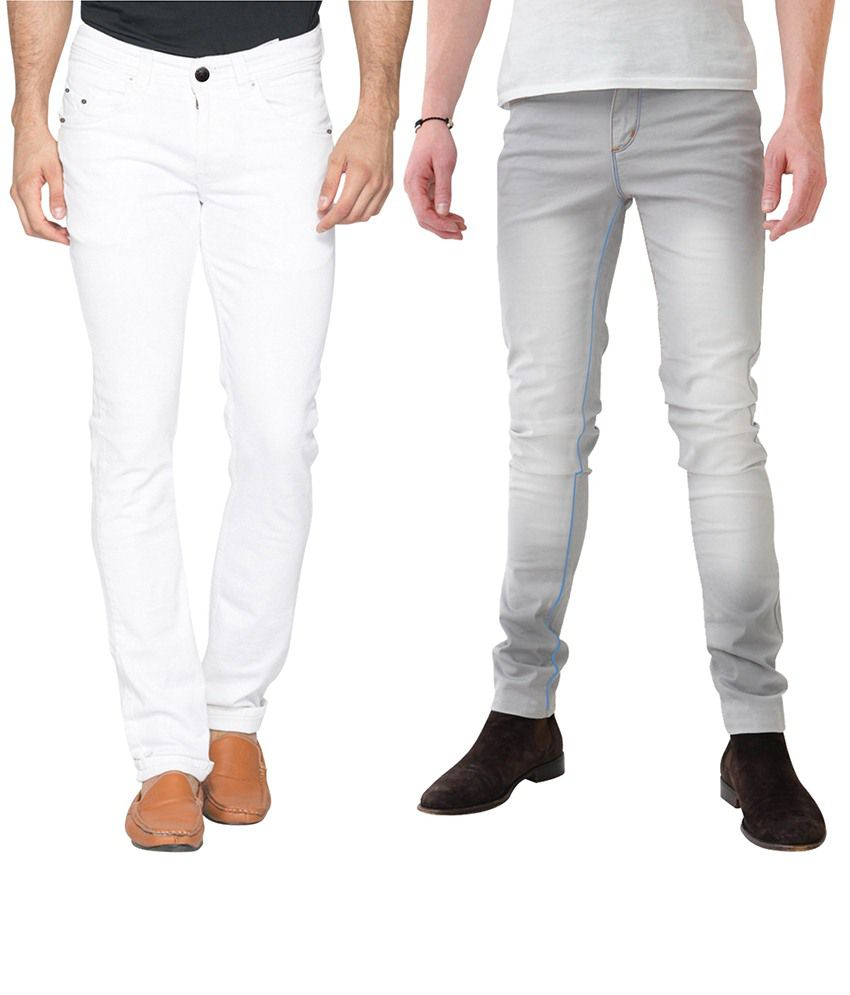 Haltung White & Gray Slim Fit Jeans Pack Of 2