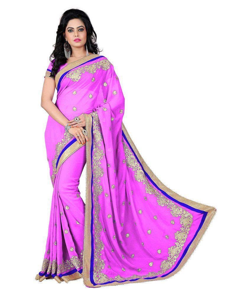 Vishnupriya Fabs Pink Faux Georgette Saree