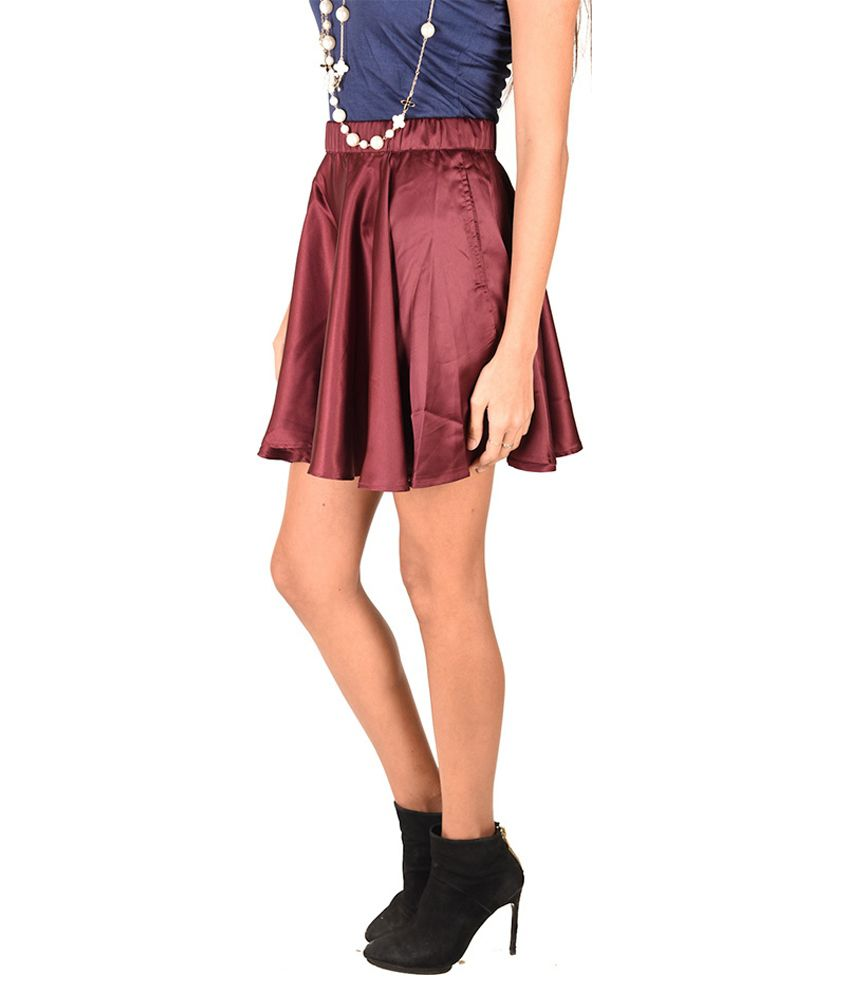 6af502ac01ce Buy Anasazi Maroon Satin Skater Skirt Online at Best Prices in India ...