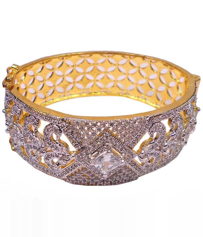 Rejewel Golden and White Brass Kada