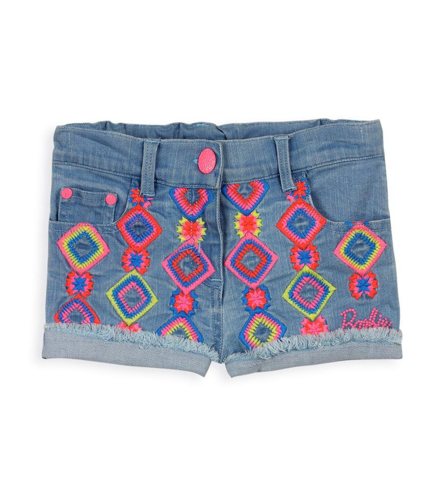 Barbie Blue Shorty Shorts With Colourful Aztec Embroidery