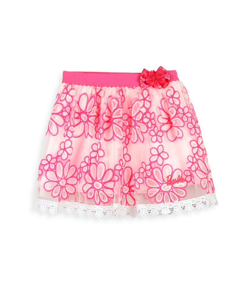 Barbie Pink Embroidered Party Skirt