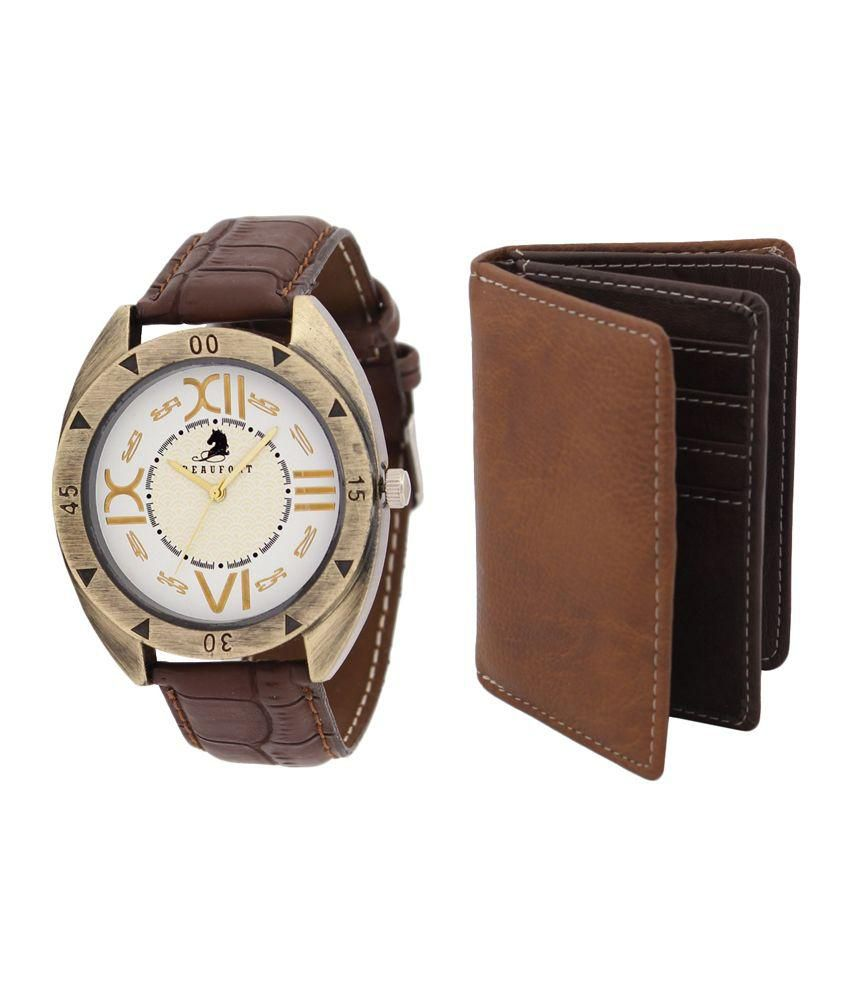 Beaufort Brown Analog Watch with Wallet