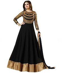Dhruva Fab Black Georgette Semi Stitched Suit
