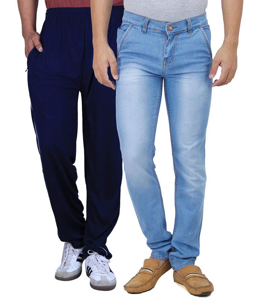 Ansh Fashion Wear Fashion Wear Men Cotton Lycra Regular Fit Faded Jeans With One Assorted Color Lower - Blue