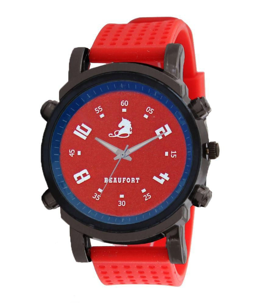 Beaufort Red Analog Watch