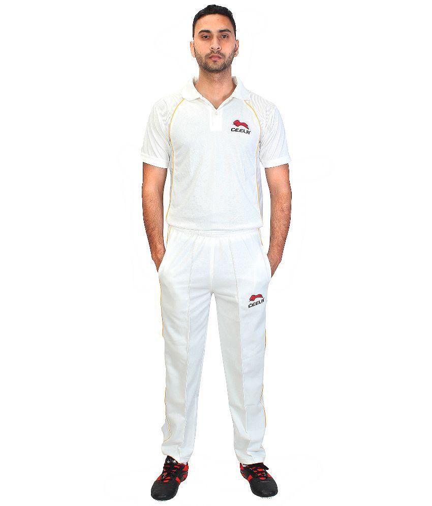 Ceela Sports White Cricket Uniform T Shirt and Trackpant Set