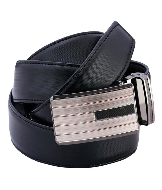 Peridot Credo Black Leather Formal Belt For Men