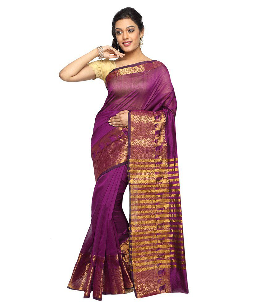 Pavecha's Purple Cotton Silk Saree