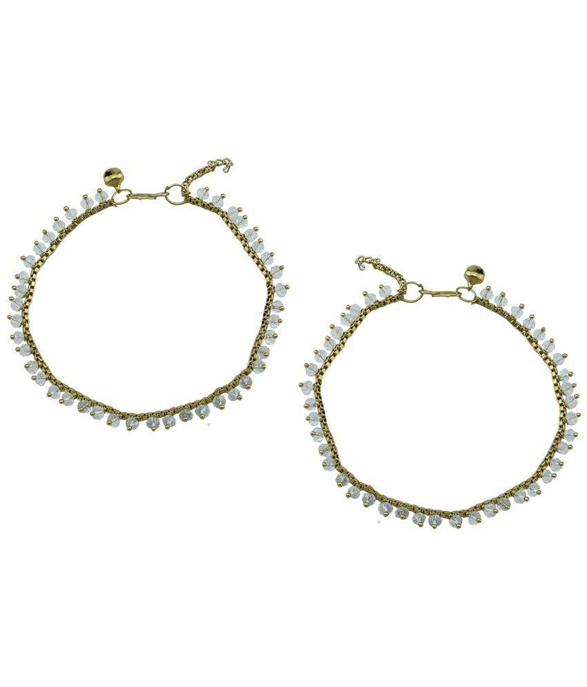 High Trendz Golden Diamond Studded Pair Of Anklets
