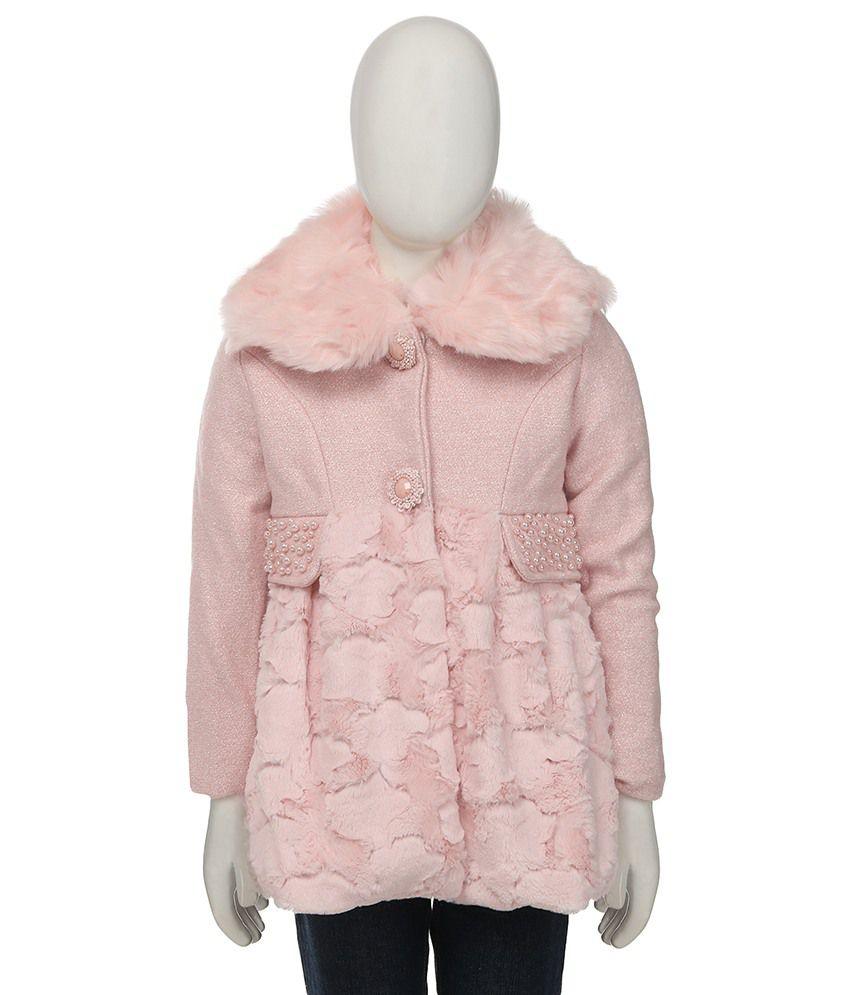 Siam Pink Wollen Jacket For Girls