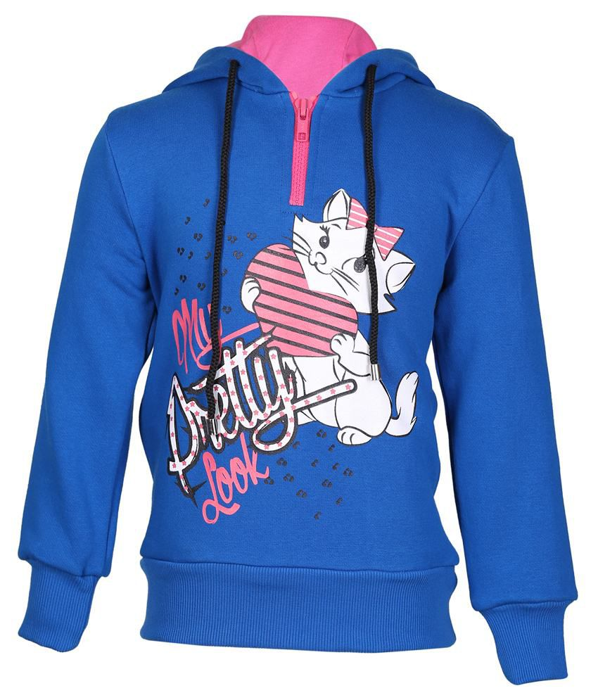 Cool Quotient Blue Hooded Sweatshirt For Girls