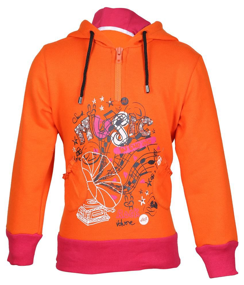 Cool Quotient Orange Hooded Sweatshirt For Girls