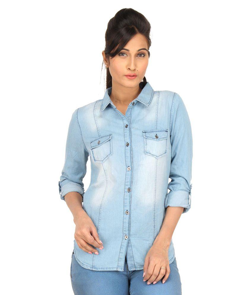 Buy eimoie blue denim shirts online at best prices in for Ladies light denim shirt