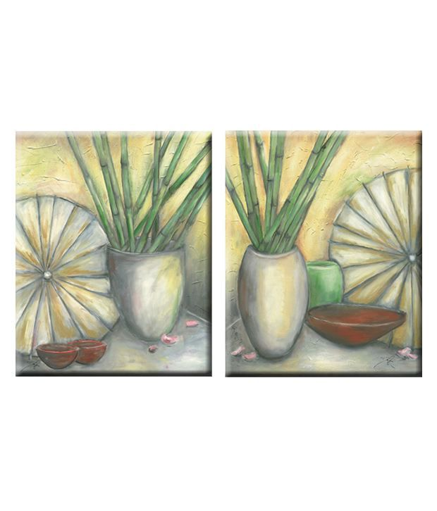 Elegant Arts & Frames Matte Canvas Set Of 2 Contemporary Stretched Painting