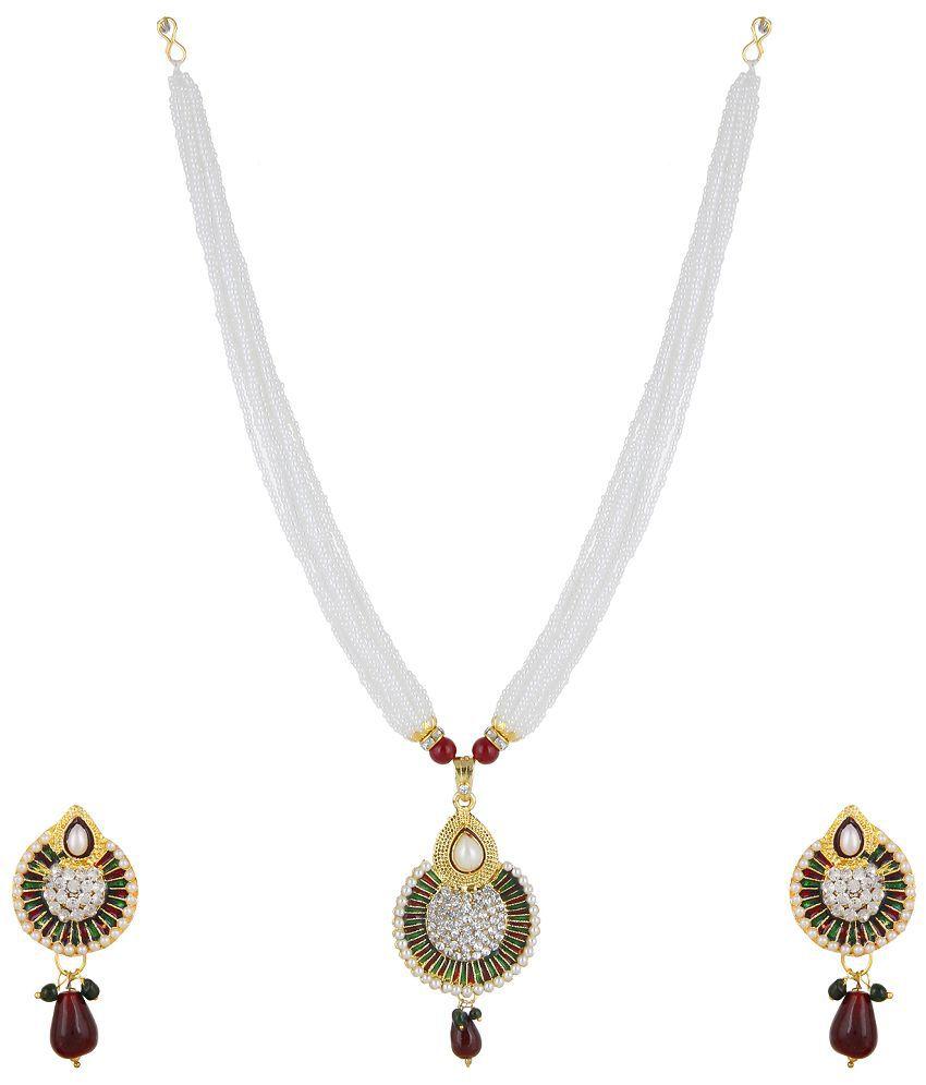 Jai Shree Multicolour Australian Diamonds Necklace Set