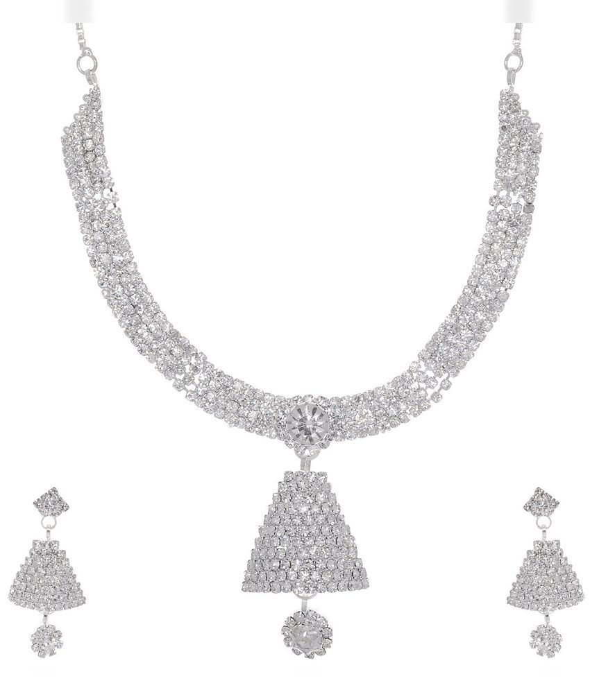 Jai Shree Silver Alloy Delta Bell Necklace Set