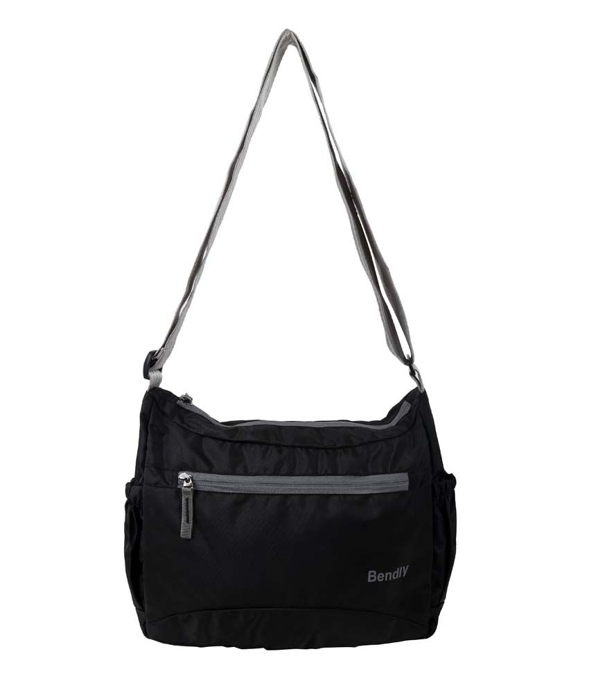 Bendly Smart Foldable Cross Body Nylon Black Sling Bag - Buy ...