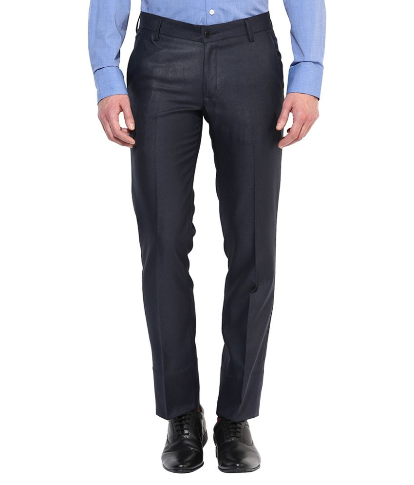 Bukkl Blue Slim Fit Formal Flat Trousers
