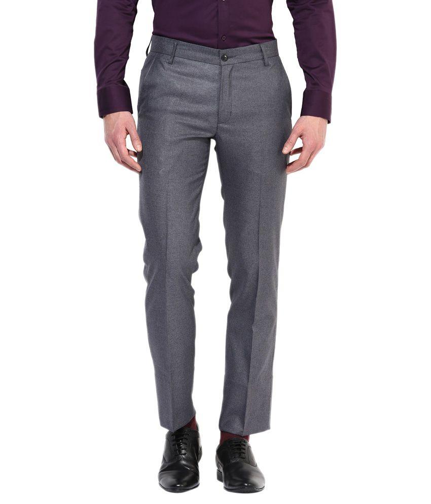 Bukkl Dark Grey Slim Fit Formal Trousers