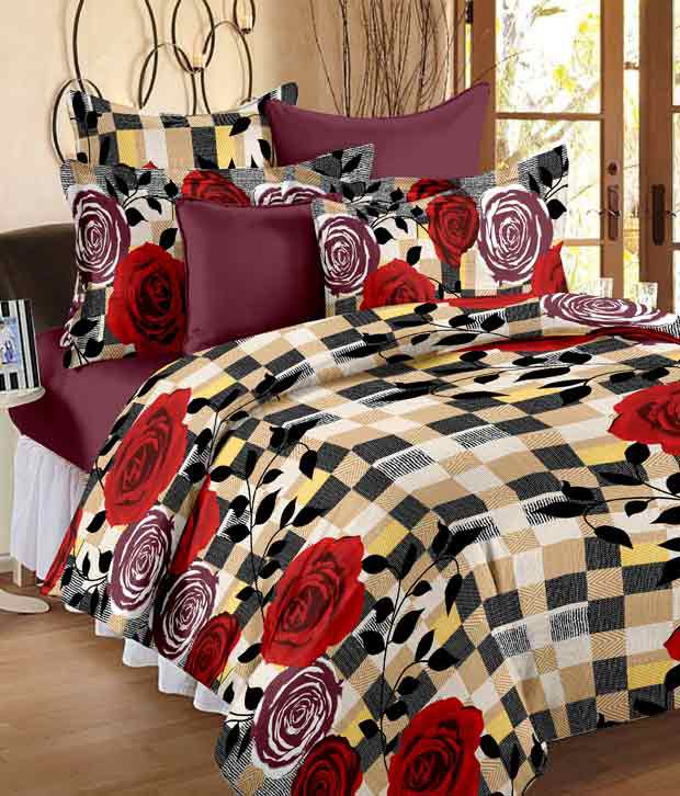 Story@Home Multicolour Abstract Cotton Double Bedsheet