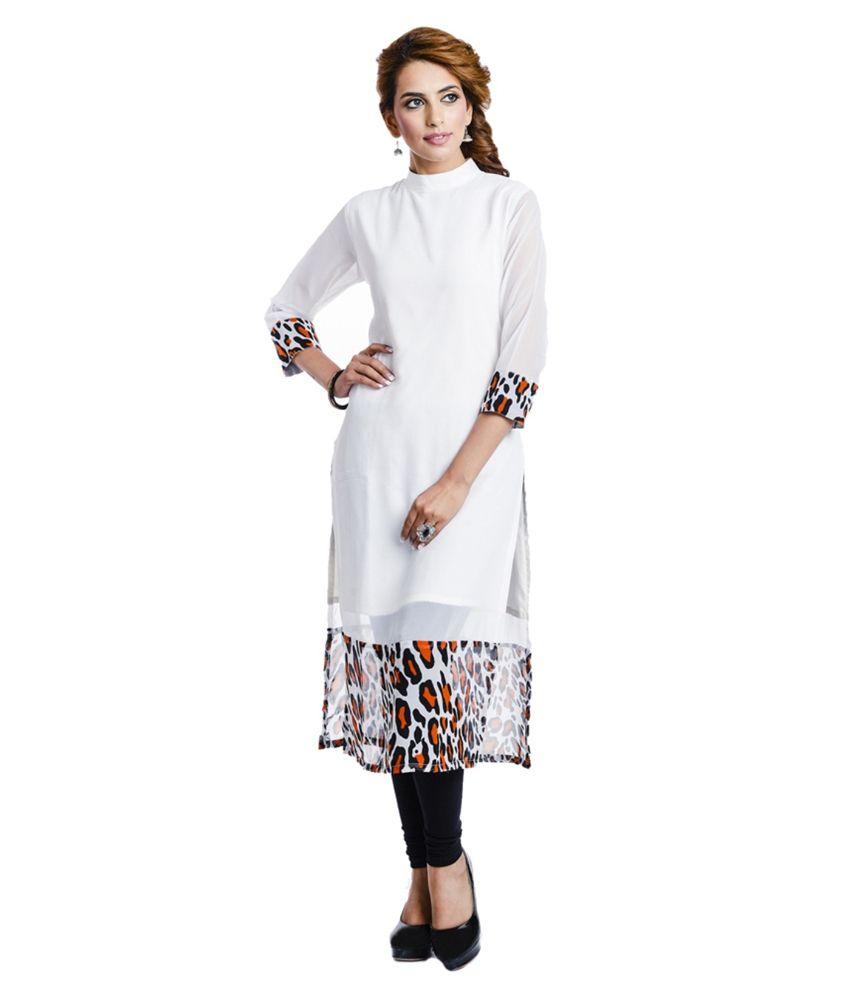 Fashion By Netanya White Straight Faux Georgette Kurti