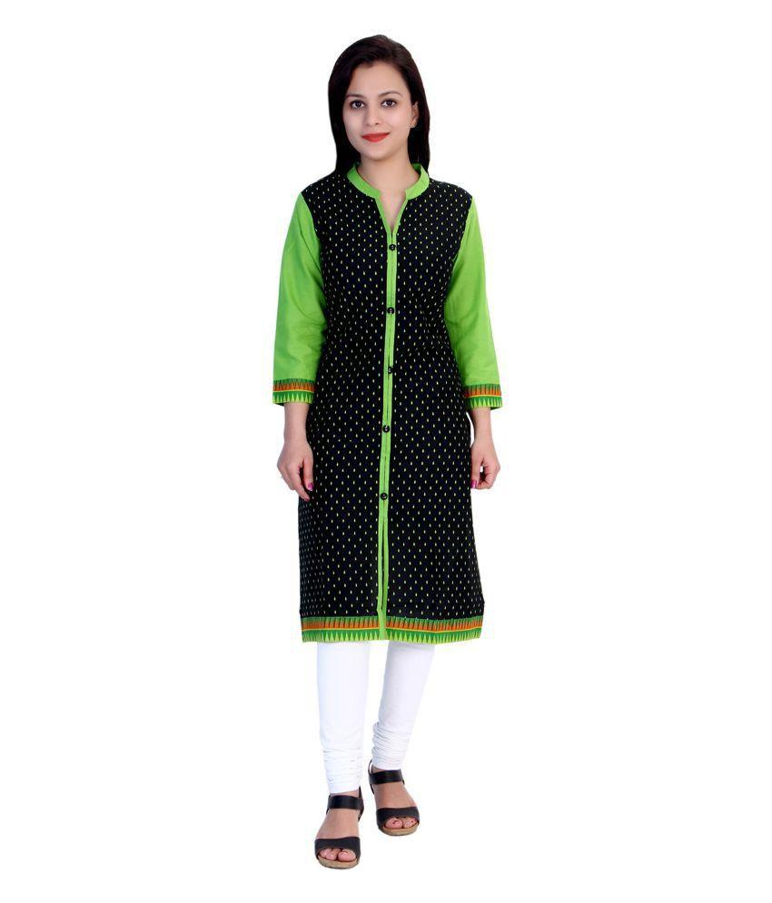 Gaura Black Straight Cotton Kurti